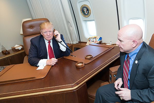 President Donald Trump talks on the phone to Commander Andria Slough