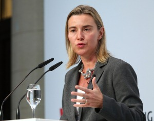 Federica Mogherini at the podium