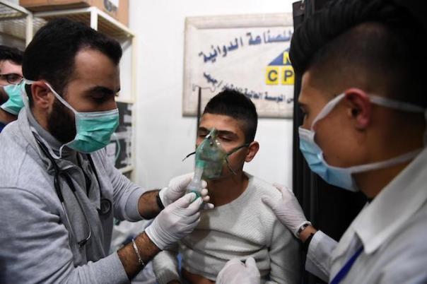 People suffering suffocation symptoms in Aleppo